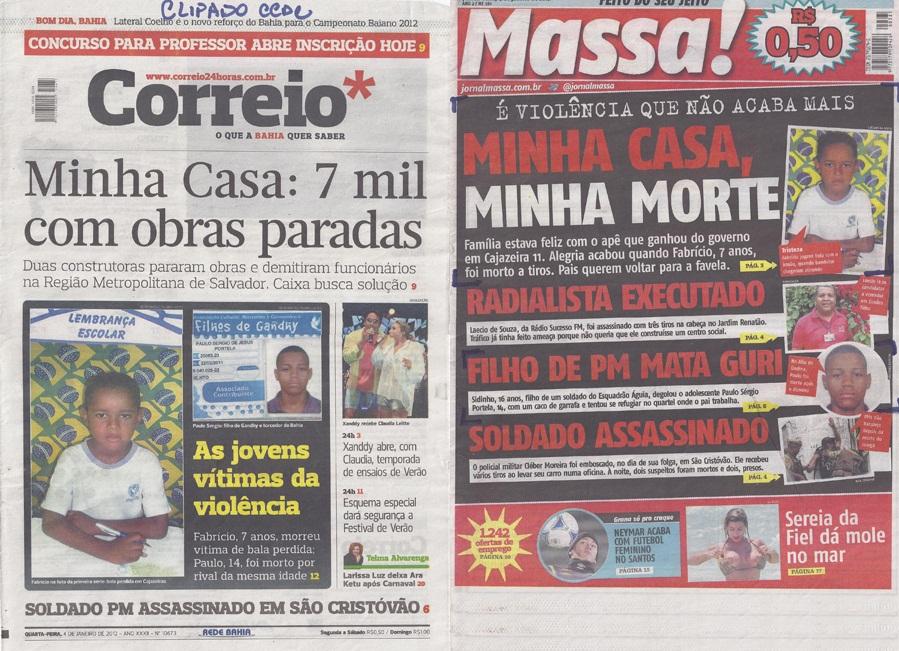 Capas do Correio* e do Massa! – alguns dos exemplares clipados pelo CCDC