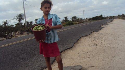 Menina vende umbu nas estradas em busca de alguns trocados para a família. Foto: Liliana Peixinho.