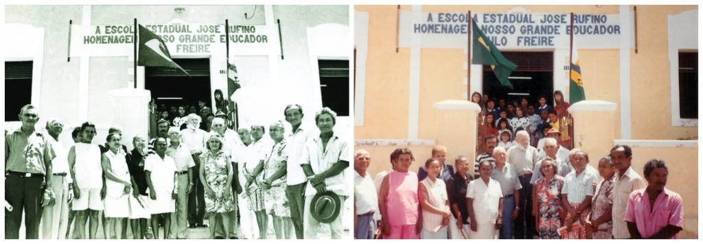 Paulo Freire com a turma de Angicos durante a formatura e trinta anos depois/ Fonte: Acervo Paulo Freire