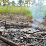 Casa queimada na aldeia Cahy Pequi, Terra Indígena de Cumuruxatiba.  / Fonte: Acervo TI Cumuruxatiba.